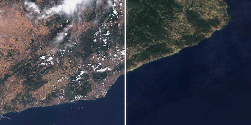 Comparison between raw Sentinel-2 data (with clouds) and Sentinel-2 cloudless